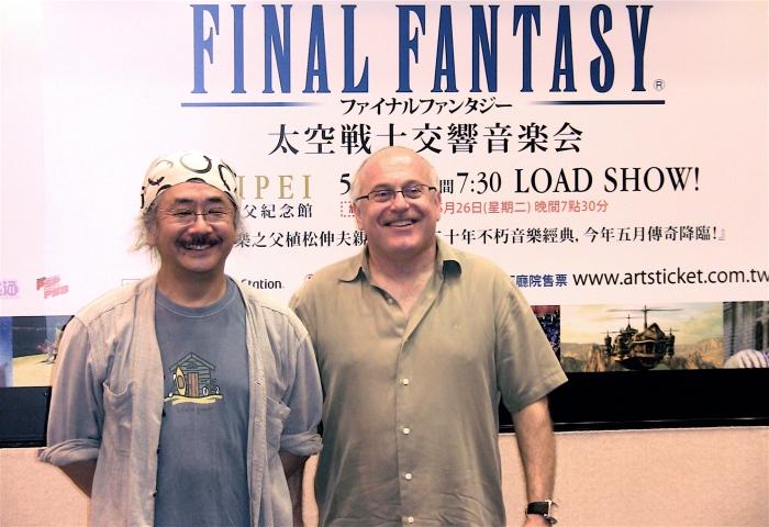 太空戰士音樂總監植松伸夫(左)音樂會指揮Arnie Roth(右)