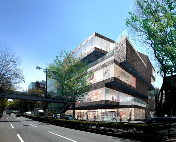 MVRDV和日本的竹中工務店東京表參道上所共同設計的「GYRE」購物中心。以「漩渦•迴轉」為核心概念,建築物運用堆切與扭轉的設計;雖然令突出的不規則狀就像座沒有旋轉完成的魔術方塊,但建築師將每層樓露出來的不規則畸零地,設計成小陽台,企圖營造天光合一的自然開放感。