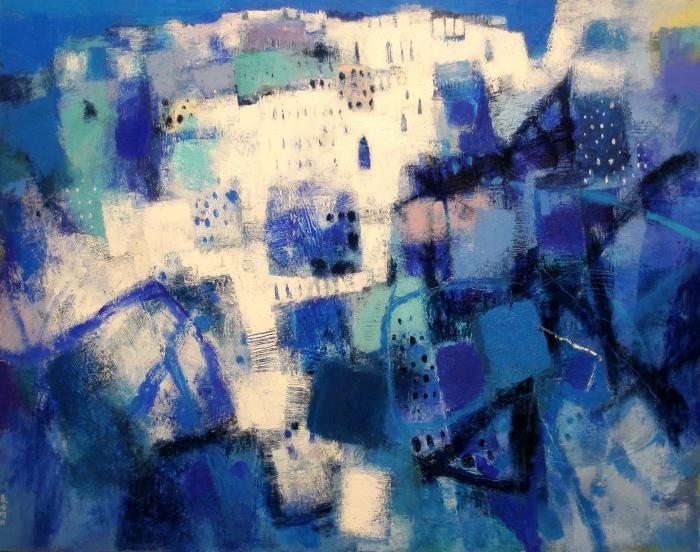 張培均 《在海角相遇》50F 油畫 2008 (第72屆台陽美展油畫類優選獎)(私人收藏)
