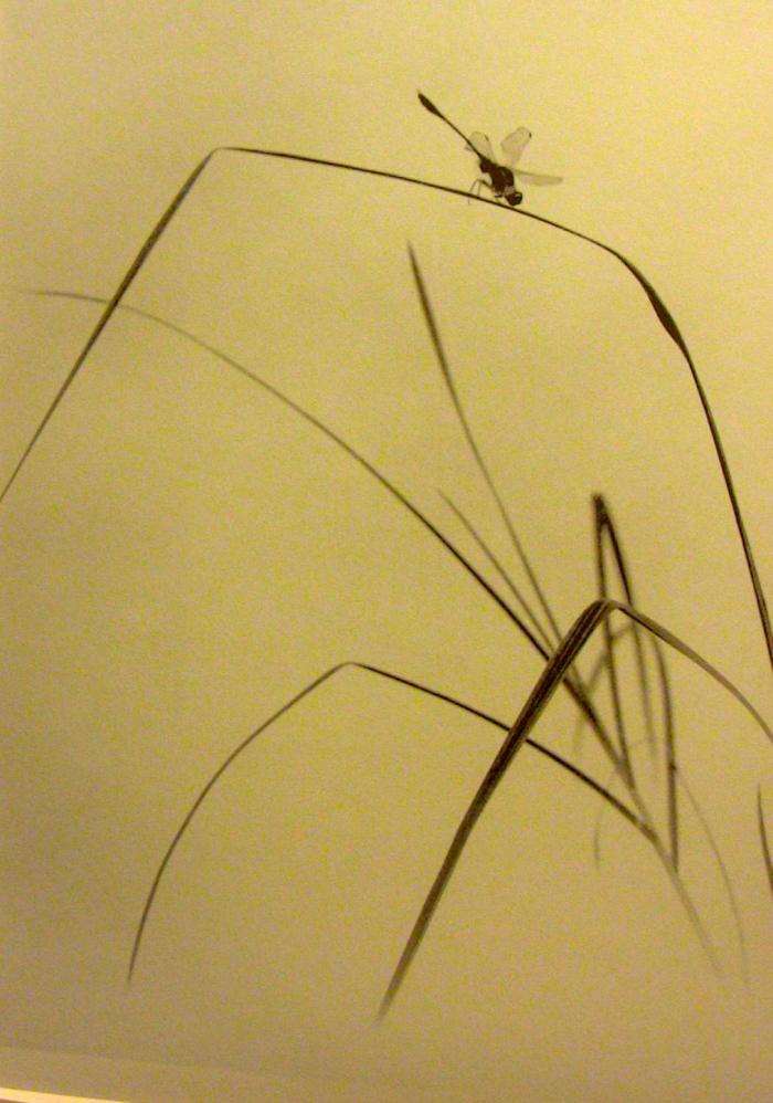 """""""清幽不見人 但聞蘭花香 誰愛風流高格調 飛來蜻蜓知"""" 蜻蜓知草綠 1955 12x16cm 平滑藝術紙(林筱穎攝)"""